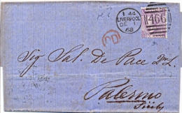 Great Britain 1868 Envelope From Liverpool 466 To Palermo (Italy) With Stamp 6 Pence (hyphen After SIX) - 1840-1901 (Regina Victoria)
