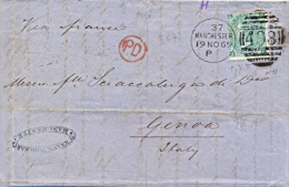 Great Britain 1869 Envelope From Manchester 498 To Genoa (Italy) Via France With Stamp 1 Shilling - 1840-1901 (Regina Victoria)