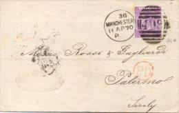 Great Britain 1870 Envelope From Manchester 498 To Palermo (Italy) With Stamp 6 Pence (no Hyphen After SIX) - 1840-1901 (Regina Victoria)