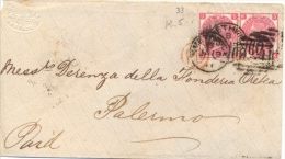 Great Britain 1871 Envelope From Smethwick 603 To Palermo (Italy) With Stamps Pair Of  3 Pence - 1840-1901 (Regina Victoria)