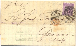 Great Britain 1871 Envelope From Manchester 498 To Genoa (Italy) With Stamp 6 Pence - 1840-1901 (Regina Victoria)