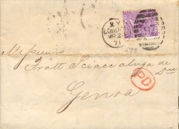 Great Britain 1871 Envelope From London 97 To Genoa (Italy) With Stamp 6 Pence - 1840-1901 (Regina Victoria)