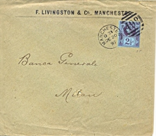Great Britain 1892 Envelope From Manchester To Milan (Italy) With Stamp 2½  Pence Queen Victoria Jubilee - 1840-1901 (Regina Victoria)