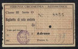 BU17     BIGLIETTO TRENO AUTOMOTRICE 3^ CLASSE FERROVIA CIRCUMETNEA - 1953 - Europa
