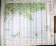 CARTE AU 1/50000eme DE HYERES PORQUEROLLES PUBLIE PAR US ARMY 1944 (COG) - Cartes Topographiques