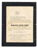 Faire-part De Décès Mr Gaspar RONGY, Propriétaire, Négociant - ODEUR 1838 / VILLERS L'EVËQUE 1907 ( B174) - Esquela