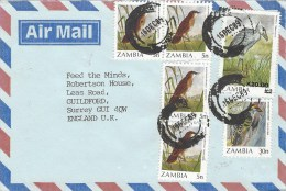 Zambia 1989 Lusaka Cisticola 5n Miombo Pied Barbet 30n Shoebill K20 On K2 Overprint Cover - Zambia (1965-...)