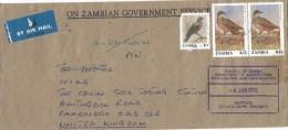 Zambia 1992 Chilanga Brown-naped Pigeon K5 Corn Krake K15 Cover - Zambia (1965-...)