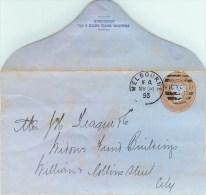 AUSTRALIE - VICTORIA - MELBOURNE -1893 - POST CARD - LETTRE ENTIER POSTAL - VOIR SCAN - 1850-1912 Victoria