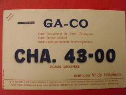 Buvard Ga-co Nouveau Numéro De Téléphone. Vers 1950 - Buvards, Protège-cahiers Illustrés