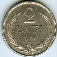 Lettonie Latvia 2 Lati 1925 Argent KM 8 - Letonia