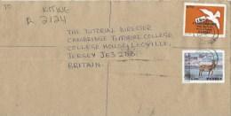 Zambia 1998 Kitwe PAPU Postal Union Leche Antilope K500 Dove Pigeon K900 Barcoded Registered Cover - Zambia (1965-...)
