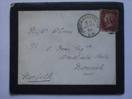 GB 1876 ENTIRE LONDON SOUTH KENSINGTON DUPLEX TO NORWICH WITH ADDITIONAL NORTH WALSHAM MARK - 1840-1901 (Victoria)
