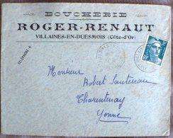 FRANCE Gastronomie.  Courrier A Entete BOUCHERIE ROGER RENAUT Villaines En Duesmois 31/12/45 - Alimentation