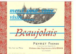 étiquette De Bouteille Du BEAUJOLAIS CAVES PEYRET Frères Chateau Des Capitans JULIENAS 69 Rhône Photo Vendanges Domaine - Bourgogne