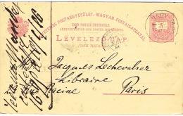 Hongrie Magyar Levelezo La^cad Magy Pour Paris 1886 Entier Postal Stationery PAP - Entiers Postaux