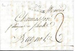 Marque Linéaire 29 Nismes , 24 Mm X 9 Mm  Du 16/04/1802 - Lot7203 - Marcophilie (Lettres)