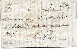 Marque Linéaire 62 Riom , 17 X 9 Mm   ( 1804 )  - Lot7204 - Marcophilie (Lettres)