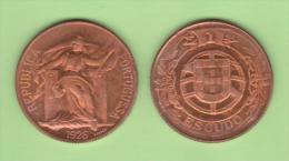 PORTUGAL  1 ESCUDO  1.926  Cobre  KM#576   T-DL-10.636  Copy - Portugal