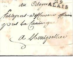 Marque  29 Alais  - 27 Mm X 10 Mm  Sur LAC DU 3/09/1800 POUR Montpellier  - Lot7209 - Marcophilie (Lettres)