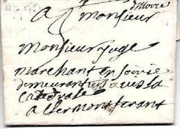 Marque  Manuscrite Issoire Sur Lac Pour Clermont Ferrand En 1751   - Lot7210 - 1701-1800: Precursores XVIII