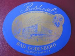 HOTEL MISC PARK BAD GODESBERG KUR GASTHOF DEUTSCHLAND GERMANY DECAL STICKER LUGGAGE LABEL ETIQUETTE KOFFERAUFKLEBER - Hotel Labels