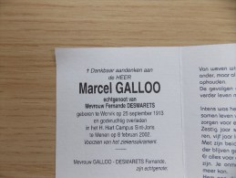 Doodsprentje Marcel Galloo Wervik 25/9/1913 Menen 8/2/2002 ( Fernade Desmarets ) - Religion & Esotericism