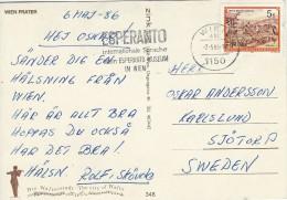 Esperanto Postmark On Postcard.   Wien Prater  Austria.  A-344 - Esperanto