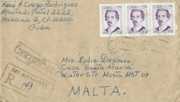 Cuba 1997 Havana Agramonte Registered Cover - Brieven En Documenten