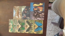 Liberia-(4butter Fly),(1dinozour),(1monkey),(1pingvin),(1dog)-(set 8 Cards)-used+5card Prepiad Free