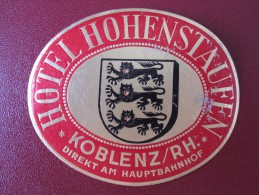 HOTEL MISC HOHENSTAUFEN KOBLENZ KUR GASTHOF DEUTSCHLAND GERMANY DECAL STICKER LUGGAGE LABEL ETIQUETTE KOFFERAUFKLEBER - Etiketten Van Hotels