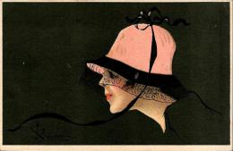 [DC4846] CARTOLINA - DONNA - CON CAPPELLO FIRMATA - Viaggiata 1918 - Old Postcard - Non Classés