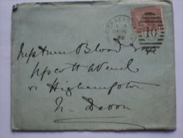 GB 1880 ENTIRE WITH SOUTH KENSINGTON DUPLEX AND RARE HIGHAMPTON DEVON RECEIVING MARK - 1840-1901 (Victoria)
