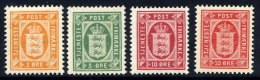 DENMARK 1902 Official Set Of 3 + Shade Of 10 Ø.  Perforated 12¾ MNH / **.  Michel  Dienst 8-10a + 10b - Officials