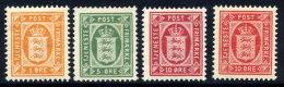 DENMARK 1902 Official Set Of 3 + Shade Of 10 Ø.  Perforated 12¾ MNH / **.  Michel  Dienst 8-10a + 10b - Dienstpost