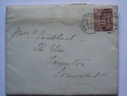 GB 1880 ENTIRE WITH SOUTH KENSINGTON DUPLEX AND TAUNTON RECEIVING MARK - 1840-1901 (Victoria)