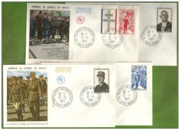 4 Enveloppes FdC 1er Jour France Célébrités Timbres DE GAULLE 1971 COLOMBEY LES 2 EGLISES Guerre 39-45 Paris Brazzaville - De Gaulle (General)