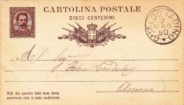 """Postkarte 1879 Filagrano C 5/- Von """"GUALDO TADINO"""" Nach Ancona (v075) - 1878-00 Humberto I"""