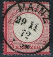 Mainz 29/11 72 Auf 3 Kreuzer Karmin DR Nr. 9 - Kabinett - Oblitérés