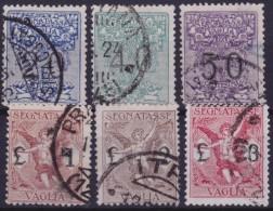 REGNO 1924, Money Order Stamps Mi. PA 1/6  Sass. 1/6 Serie Cpl. 6v. Usati Perfetti - Segnatasse