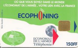 CARTE-PUCE-MILITAIRE- SFOR15-ECOPHONING--150FF-R ° SALAMANDE-V° ARMEE DE TERRE-VERT PALE-12500ex-TBE - - Francia