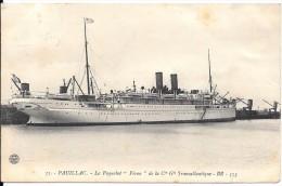 CP 65 Carte De Pauillac (33) Paquebot Pèrou De La Cie Gle Transatlantique , Timbre N°138 - Pauillac