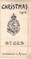 MENU NOEL 1916 CHRISTMAS ARMEE ANGLAISE ROYAL ARMY MEDICAL CORPS 18th CCS ARTOIS HOPITAL MILITAIRE