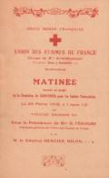 UNION FEMMES FRANCE CROIX ROUGE FRANCAISE GUERRE 1918 PROGAMME