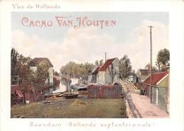 """03997 """"CACAO VAN HOUTEN - VUE DE HOLLANDE  - ZAANDAM  -  HOLLANDE SEPTENTRIONALE"""". CARTONCINO PUBBLICITARIO ORIGINALE. - Pubblicitari"""