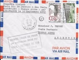 LF -495 Lettre De 1960 , 1ère Liaison Paris-Rio De Janeiro- Sao Paulo-Montévidéo-Buenos Aires Par Air France , Timbres N - Poststempel (Briefe)