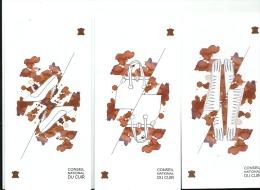 LOT DE 3 Cartes Publicitaires Parfumées - Senteur Cuir : Chaussures, Sac , Gants Dessin Illustrateur - Parfumkaarten