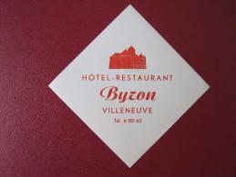 HOTEL MISC BYZON VILLENEUVE GASTHOF DEUTSCHLAND GERMANY DECAL STICKER LUGGAGE LABEL ETIQUETTE KOFFERAUFKLEBER - Hotel Labels