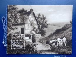 Petite Carte De Vœux Double ( +papier Intérieur) :Good Wishes -   Paysage De Ferme Animé - Postcards