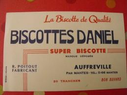 Buvard Biscottes Daniel. Auffreville Mantes. Poitout.. Vers 1950 - Zwieback